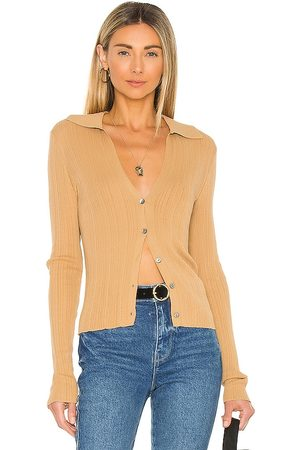 Vince Senhora Cardigans - Ribbed Polo Cardigan in - Tan. Size L (also in S, XS, M).