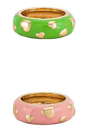 8 Other Reasons Senhora Conjuntos de Bijutaria - Gold Heart Set in - Green,Pink. Size all.