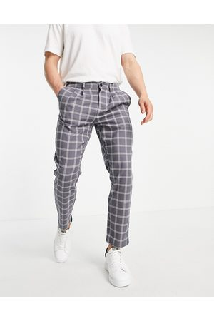 ASOS DESIGN Cigarette trouser with pleats in grey check