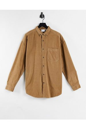 ASOS DESIGN Oversized cord shirt in tobacco-Brown