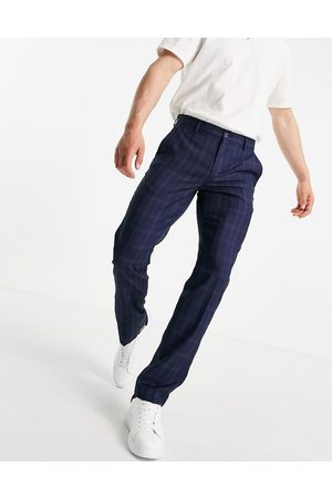 French Connection Slim fit mini check trousers-Blue