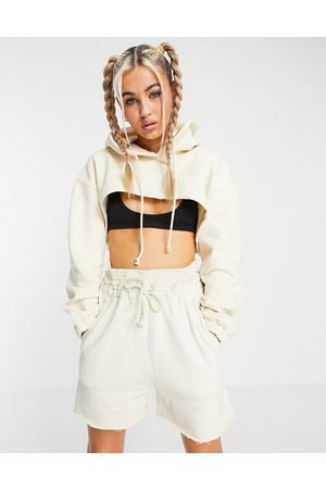 Weekday Bolero organic cotton blend cropped hoodie with zip front in ecru-Neutral