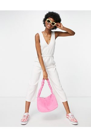 Monki Sandra organic cotton blend ribbed jersey wide leg jumpsuit in off white
