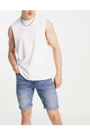 Only & Sons Distressed denim shorts in midwash blue