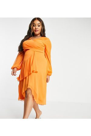 ASOS ASOS DESIGN Curve wrap waist midi dress with double layer skirt and long sleeve in orange