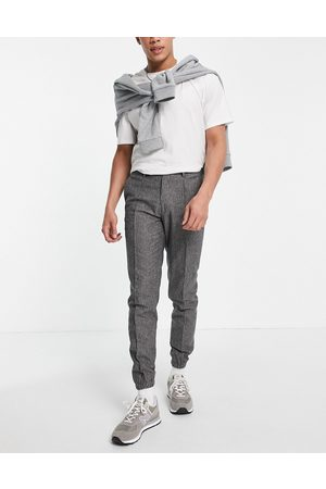 ASOS DESIGN Smart slim jogger cuff trousers co-ord with grey prinstripe