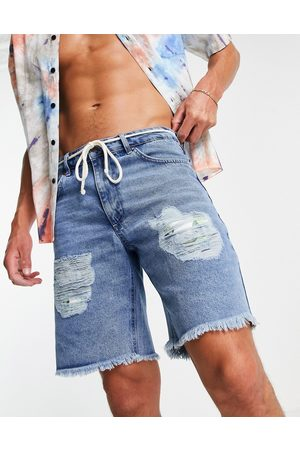 SikSilk Relaxed floral pixel denim shorts in blue