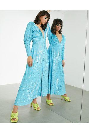 ASOS EDITION Button through midi tea dress in sequin-Blue