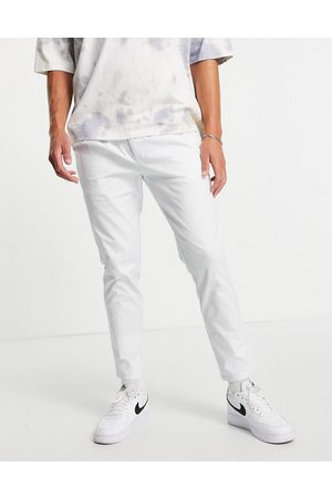 ASOS Homem Calças Formal - Cigarette chinos with pleats in white