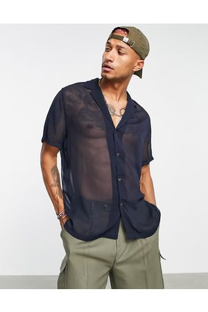 ASOS DESIGN Relaxed sheer crepe shirt with revere collar in navy