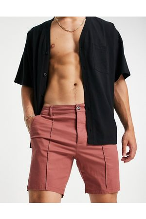 ASOS Skinny chino shorts with pin tuck in rust red