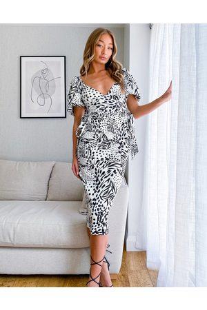 ASOS DESIGN Senhora Vestidos Estampados - Tie side sweetheart puff sleeve pencil midi dress in mono abstract print-Multi