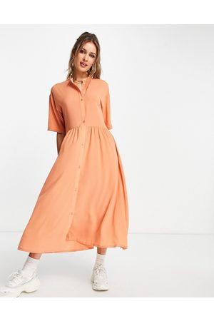 Monki Asta recycled button front midi dress in orange-Red