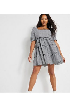 Simply Be Smock dress with puff sleeves in black gingham check