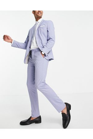 SELECTED Slim fit suit trousers in light blue-Purple