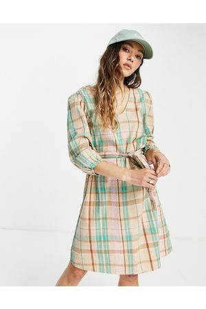 ONLY Mini smock dress with volume sleeve and tie waist in mint check-Multi