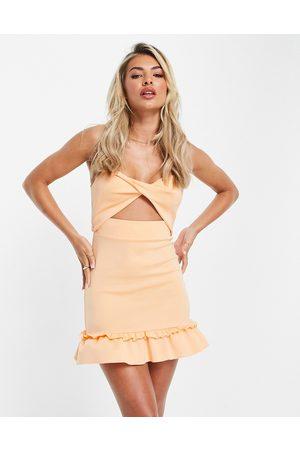 ASOS Cami knot cut-out mini dress in peach-Orange