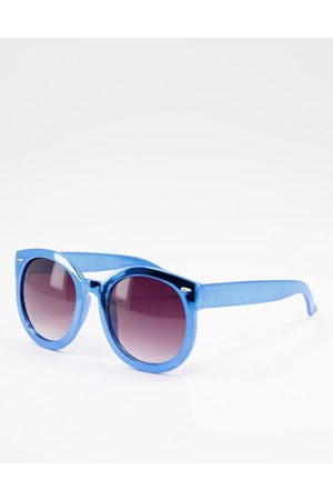 Jeepers Peepers Round lens chunky frame sunglasses-Blue