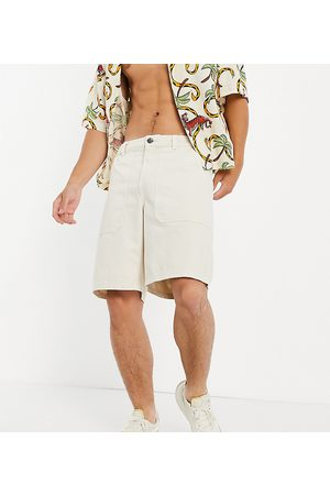 New Look Loose fit twill shorts in stone-Neutral