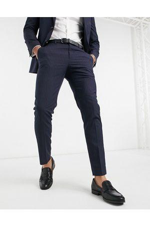 Burton Menswear Homem Calças Justas - Pinstripe slim fit suit trousers in navy