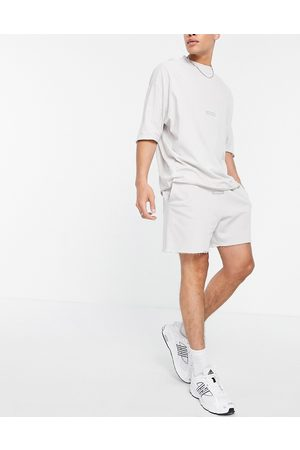 ASOS Dark Future Co-ord relaxed shorts with raw edge details in grey