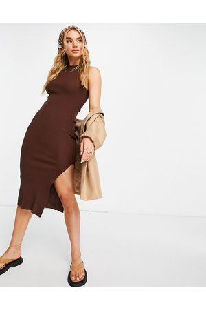 ASOS DESIGN Midi dress with racer back in chocolate-Brown