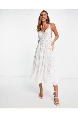 ASOS EDITION Senhora Vestidos de Festa - Cami midi dress with vintage look embellishment-White