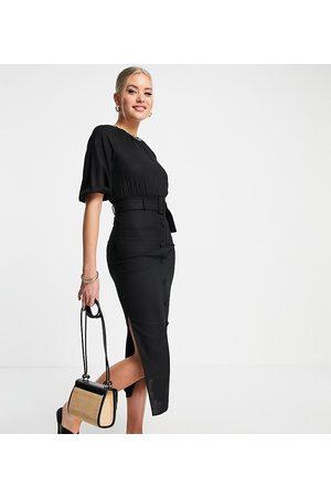 ASOS Tall ASOS DESIGN Tall linen puff sleeve button through belted midi dress in black