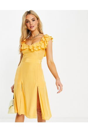 French Connection Almedina frill neck dress in orange