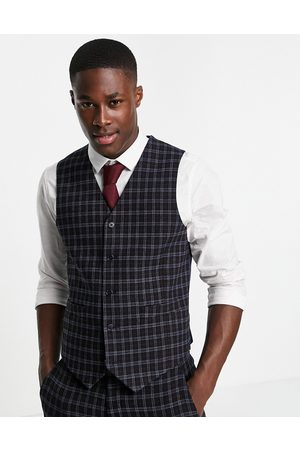 ASOS DESIGN Wedding super skinny wool mix suit waistcoat with grid window check in navy