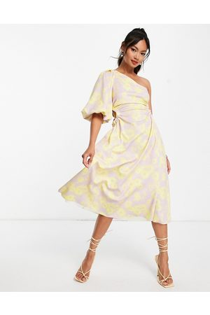ASOS DESIGN Senhora Vestidos de Festa - One shoulder puff sleeve side cut out channelled midi skater dress in floral print-Multi