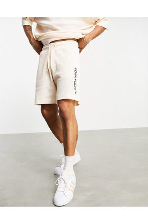 ASOS Dark Future Co-ord relaxed shorts in lightweight waffle in neutral