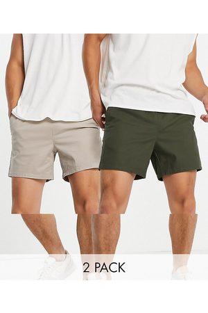 ASOS 2 pack slim chino shorts in dark khaki and beige save-Multi
