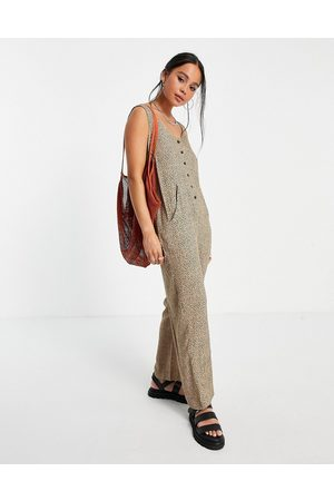 ASOS Minimal button front dungaree in leopard print-Multi