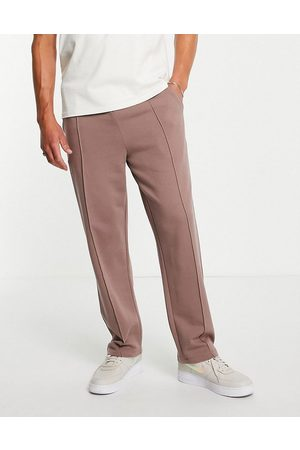 ASOS DESIGN Smart straight leg joggers with pin tucks in washed brown