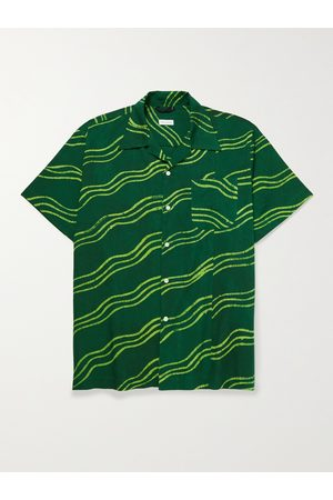 Post-imperial Homem Casual - Camp-Collar Printed Cotton Shirt