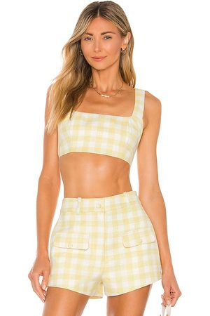 Camila Coelho Clarisse Top in - Lemon. Size L (also in XS, S, M, XL).