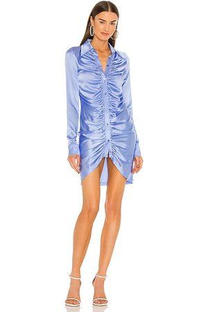 KIM SHUI Ruched Silk Mini Dress in - Blue. Size L (also in XS, S, M).