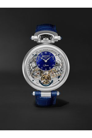BOVET Monsieur Hand-Wound 43mm 18-Karat White Gold and Alligator-Effect Leather Watch, Ref. No. AI43018-G46