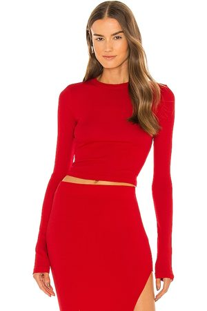 Cotton Citizen X REVOLVE Verona Crop Long Sleeve in - Red. Size L (also in XS, S, M).