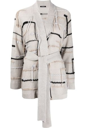 Canessa Striped open-knit belted cardigan