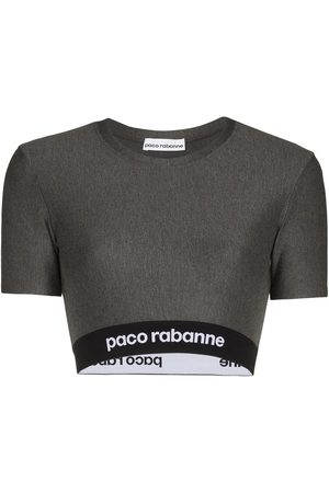 Paco rabanne Logo tape cropped top