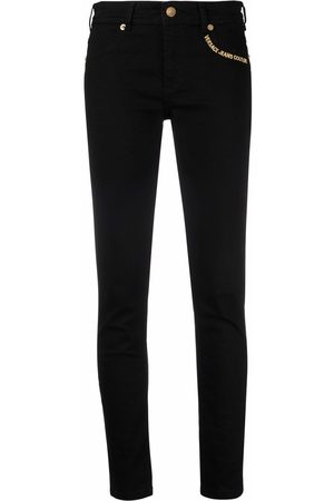 VERSACE Embroidered-logo slim fit jeans
