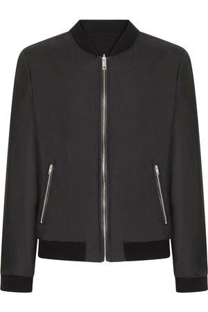 Dolce & Gabbana Leather-trim silk bomber jacket