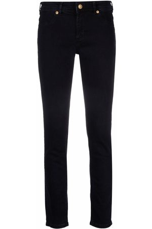 VERSACE Embroidered-logo slim-fit jeans