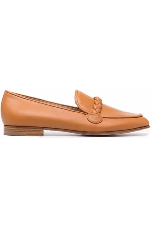 Gianvito Rossi Braided-trim leather loafers