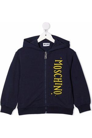 Moschino Menino Camisolas com capuz - Logo-print zip-up hoodie