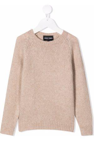 Emporio Armani Intarsia-logo knitted jumper