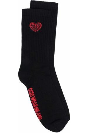 GCDS Heart-motif ribbed socks