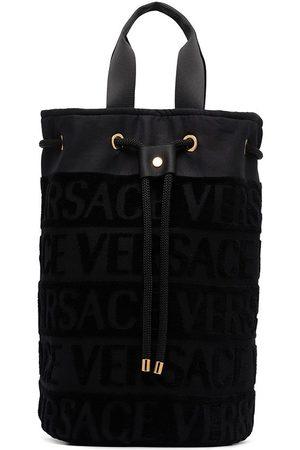 VERSACE Logo pattern drawstring beach bag